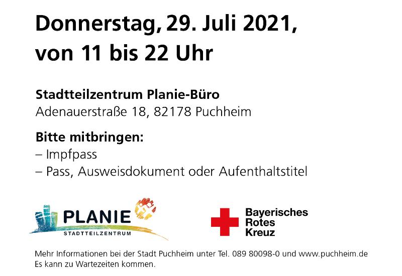 Corona-Impfaktion in Puchheim am Donnerstag, 29. Juli