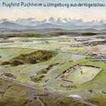 Ansichtskarte vom ersten Flughafen Bayerns in Puchheim 1910-1914