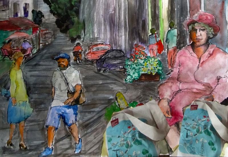 20 Kunstwerke in 20 Puchheimer Geschäften. Grafik (Detail): Barbara Saatze