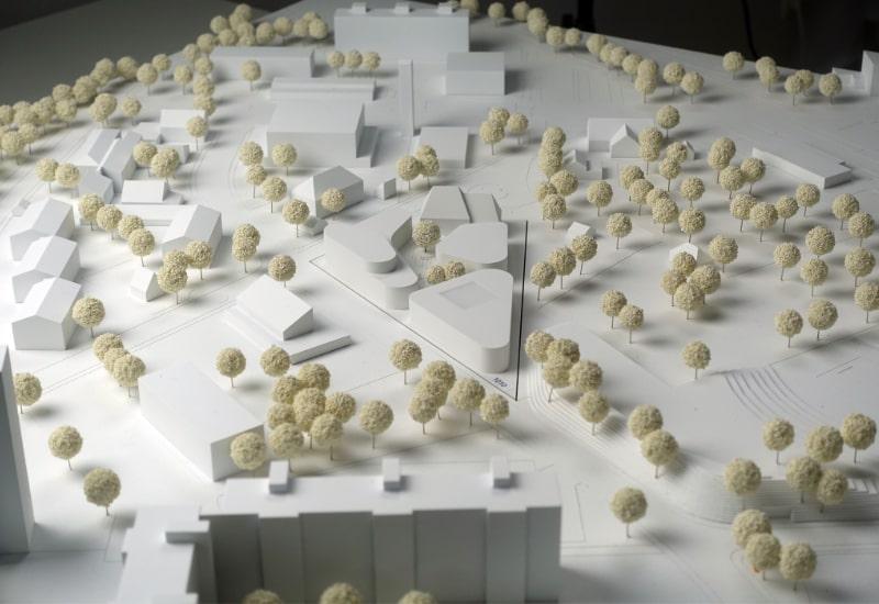 Modellbild des Siegerentwurfs von Auer Weber Assoziierte, München, mit Grabner Huber Lipp Landschaftsarchitekten, Freising.