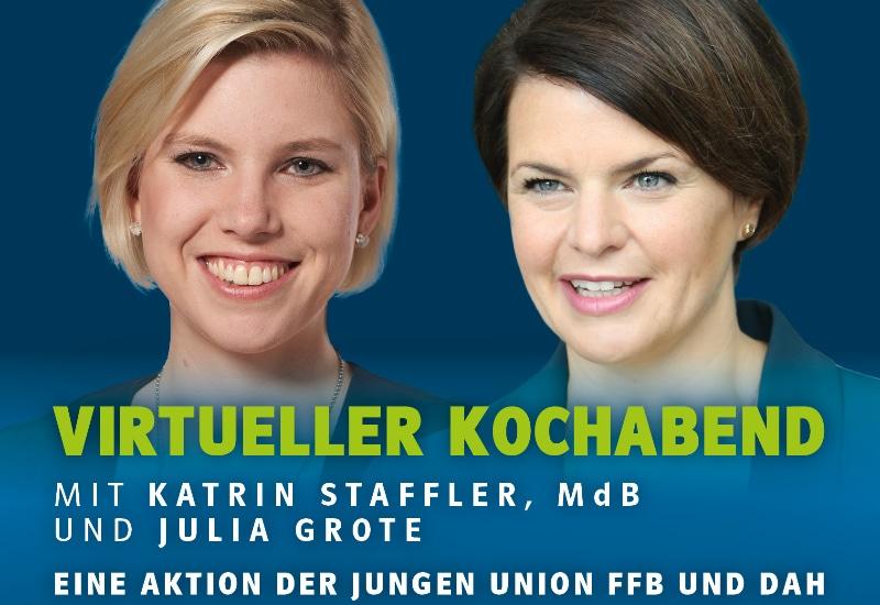 Virtueller Kochabend mit Julia Grote (links) und Katrin Staffler, MdB (rechts).